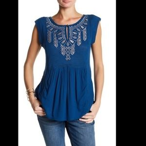 NWT Lucky Brand Embroidered Shell Blouse Teal